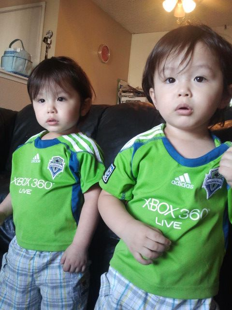 Caiden & Camron..Korean American twins luv the Seattle FC soccer team!