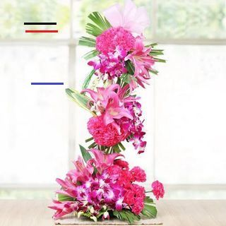 Send Orchids Carnations And Lilies Tall Arrangement Online In India At Indiagift In Br This Product Contains 6 Pink L In 2020 Orchids Carnations White Lily Bouquet