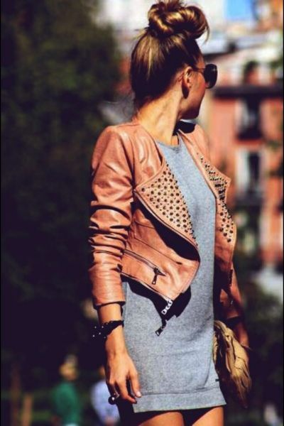 studded little leather jacket cool dress too