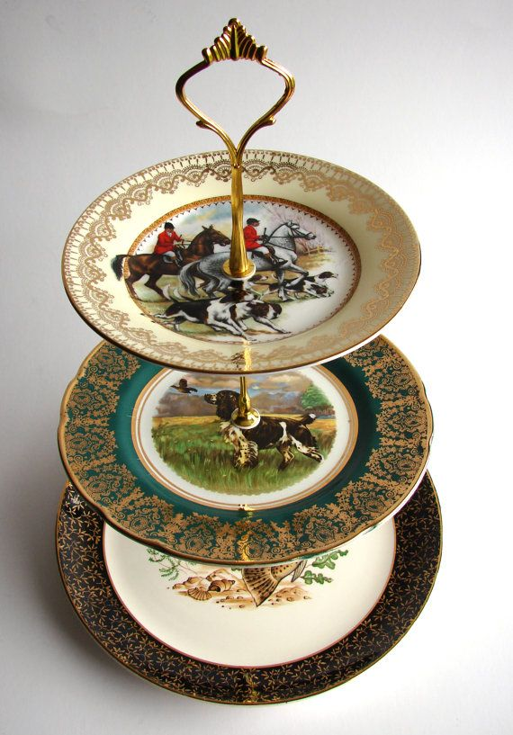 GONE FISHING, 3 tier, Cake Stand, Recycled vintage plates, green gold black, hunting, fishing, dogs, hounds, salmon, wedding, country life