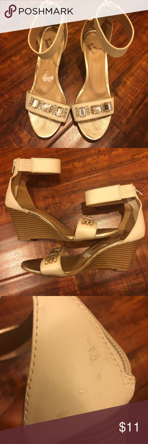 White Champagne Colored Wedges In used condition Has various scuff marks Still has lots of life left Feel free to ask questions Report Shoes Wedges