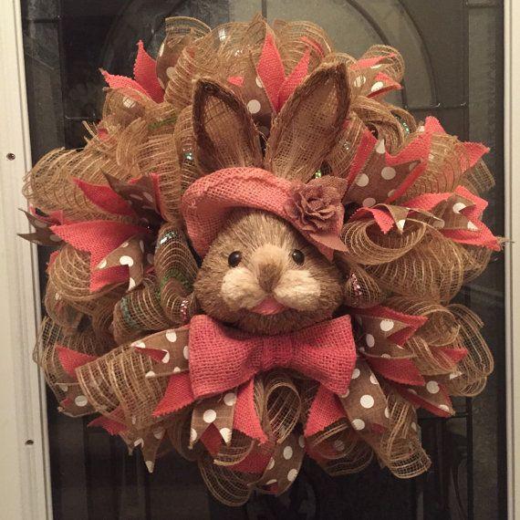 Easter Wreath Poly Jute Burlap Deco Mesh Wreath by RoesWreaths