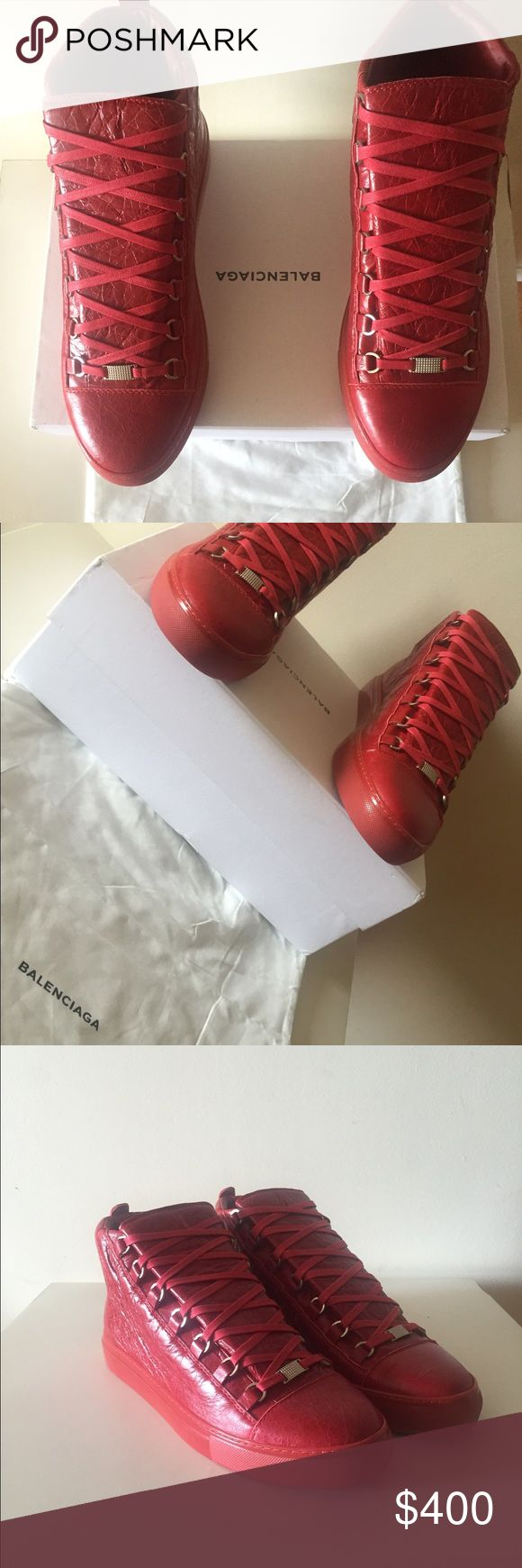 balenciaga arena sneakers red high top shoes US 11 authentic and never worn , comes with original box and original dustbag. size EU 44 US 11 Balenciaga Shoes Sneakers