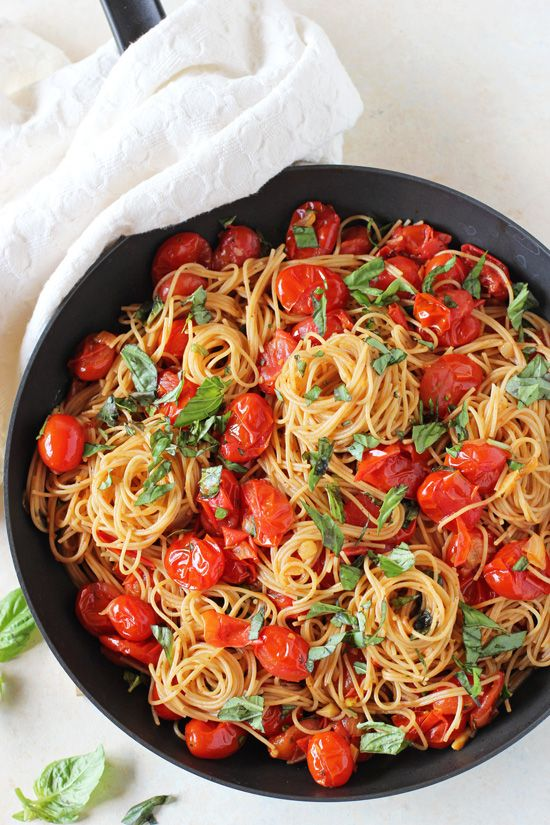Packed with fresh basil, this simple fresh cherry tomato sauce is a perfect summer recipe! Toss with pasta for a flavorful weeknight meal!