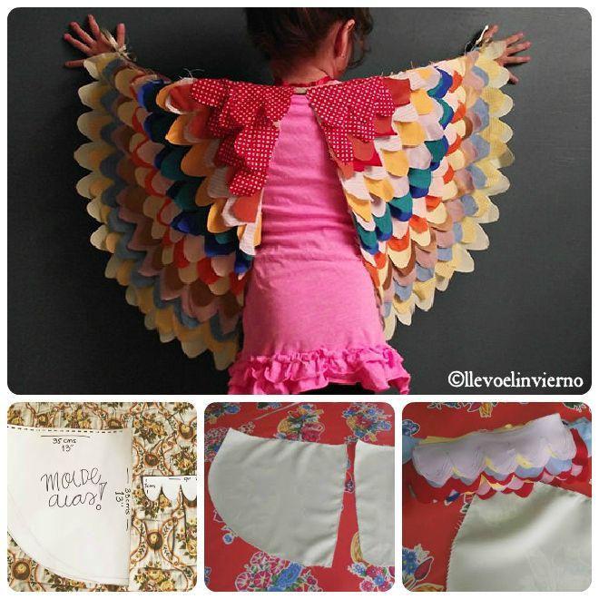 """Le ali di uccello: Queste ali sono straordinarie! E' entusiasmante vedere con quanto amore e attenzione le mamme si dedicano ai propri figli pur di vederli sorridere! Ecco che partendo da un semplice cartamodello si realizzano le sagome di base, ritagliandole da un vecchio lenzuolo e poi si procede con infinita pazienza a ritagliare le """"piume"""" da stoffa di avanzo che avrete selezionato da alcuni abiti di scarto. http://www.acomealice.it/2013/02/idee-per-costumi-di-carnevale-fai-da-te/#"""