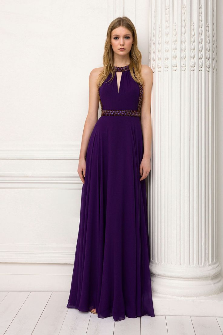 Jenny Packham Pre-Fall 2018: I love the color of this dress! Such a rich royal purple color!