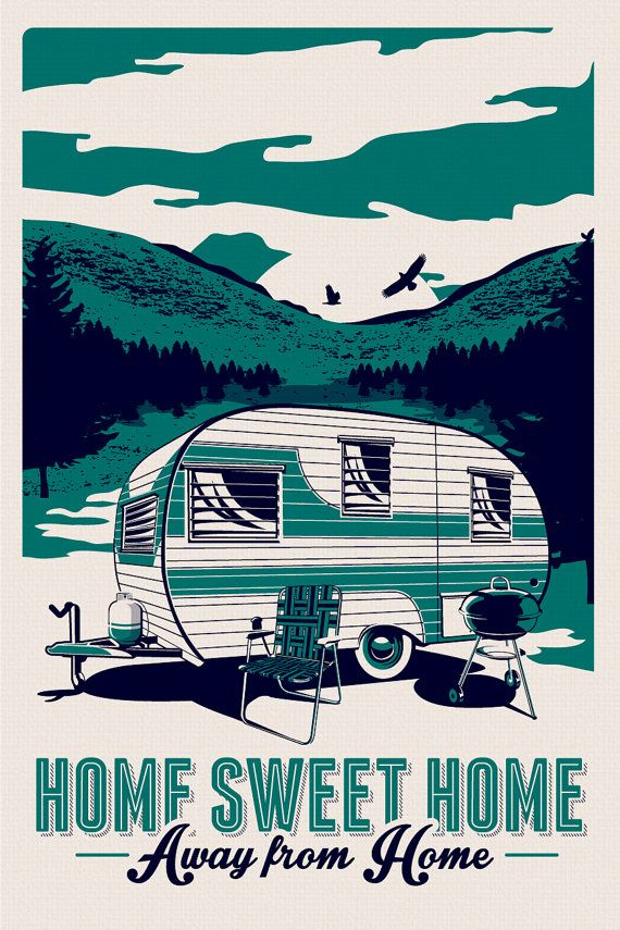 "this is 100% original artwork vintage rv retro camping silk screen print poster trailer camper summer  hand screen printed 2 color design. ARTWORK SIZE IS 12""X18"" PRINTED ON VANILLA HEAVY COLD PRESSED ARTBOARD (VERY THICK) LIMITED RUN OF 50 PRINTS SIGNED AND NUMBERED!  ADDITIONAL SIZES ARE AVAILABLE, PLEASE CONTACT ME IF YOU ARE INTERESTED.  $24.99"