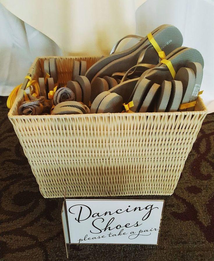 Wedding - dancing shoes for guests - basket of flip flops via A Labor Day Wedding Weekend