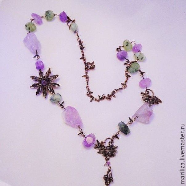 Necklace А Fern Flower (prenit and amethyst)