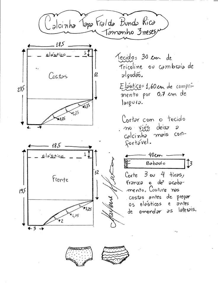 Esquema de modelagem de calcinha tapa fralda bunda rica tamanho 3 meses.