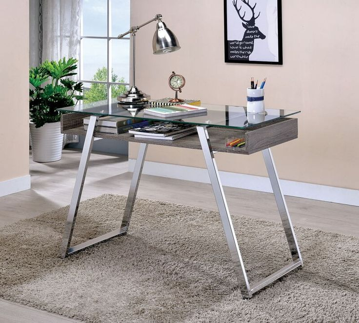 Ballybay Collection Natural Finish Wood And Chrome Metal And Glass Desk.  This Set Includes The Glass Top With Chrome Legs And Natural Wood Finish  Under ...
