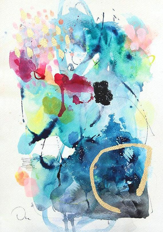 Watercolor Print Blue Painting Art Painting Print Abstract Wall