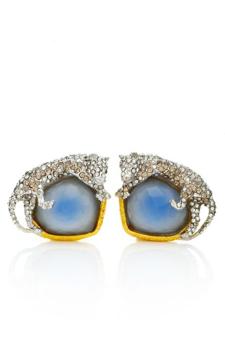 Alexis Bittar Elements Siyabona Gold Cerulean Panther Clip Earrings