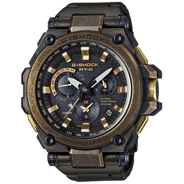 G-SHOCK MTG gold ion-plated watch ($1,880) ❤ liked on Polyvore featuring men's fashion, men's jewelry, men's watches, mens gold chronograph watches, mens gold watches, g shock mens watches and mens chronograph watches