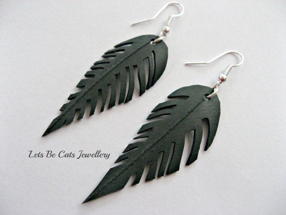Upcycled feather or leaf earrings made from by LetsBeCats on Etsy