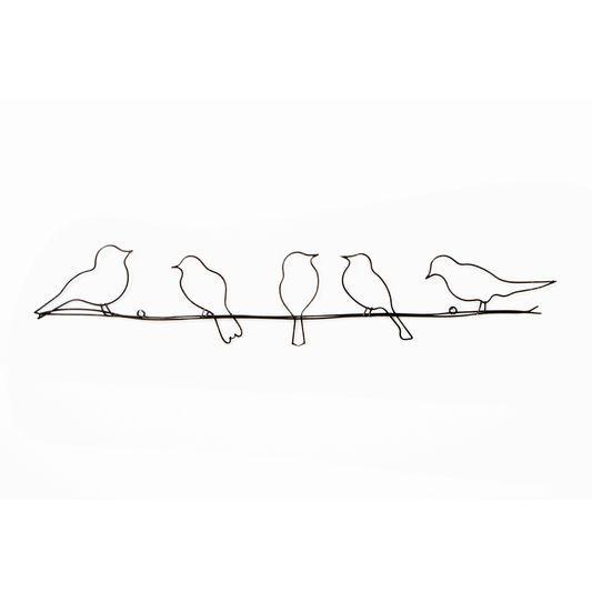 Vogels op een draad metalen Wall-art, , large