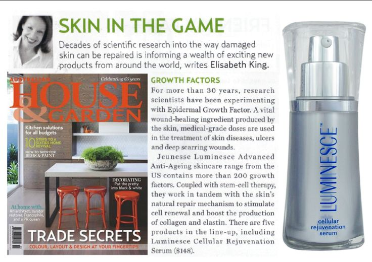 House & Garden Australia magazine's Elizabeth King wrote about Jeunesse  LUMINESCE anti-aging serum. Order yours today... www.turnbacktimeinstantly.ca #antiaging #eraseyears #reversedamage #lookyounger #feelgreat #turnbacktimeinstantly