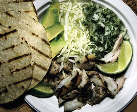 Grilled Fish Tacos | Bon Appétit         Grilled Fish Tacos Recipe  at Epicurious.com: Recipes Maine, Cancun, Sour Cream, Grilled Fish Tacos, Mr. Tacos, Tacos Recipes, Mexicans Food, Bon Appetit, Grilled Recipes