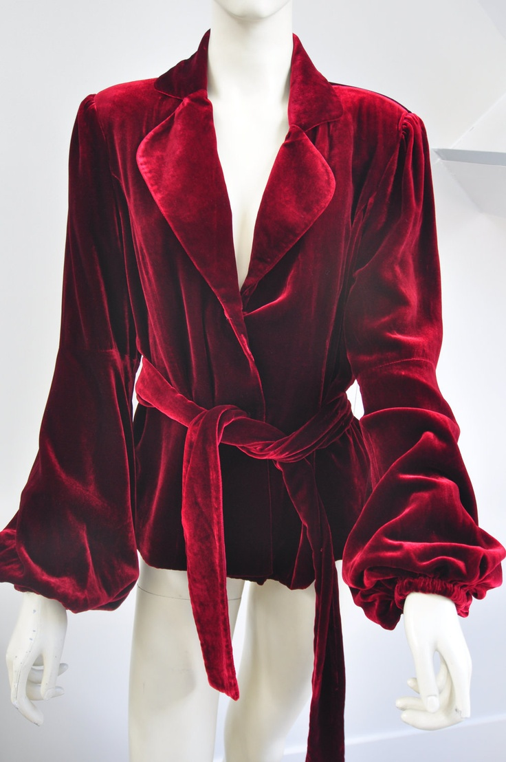 70s Deep Red Velvet Jacket with Belt - Luxurious Soft Velvet