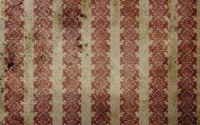 текстуры, винтаж, обои, пятна, полосы, линии, старение, орнамент, вензеля, фон, vintage wallpaper