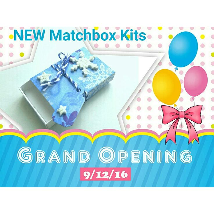 Preparing for our GRAND OPENING on Monday 9/12/16!  Posting our promotional layout for one of our matchbox kits from our first Holiday Collection of 2016.  Join in on the fun and create a fun little gift, greeting or treasure box for someone special.  Not feeling creative?..... checkout our pre-made boxes. Pictured above is our winter wonderland snowflake matchbox kit.  The photo reflects the finished product.