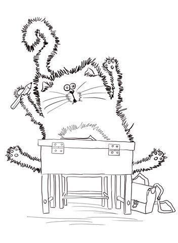 Click To See Printable Version Of Splat The Cat Back School Coloring Page