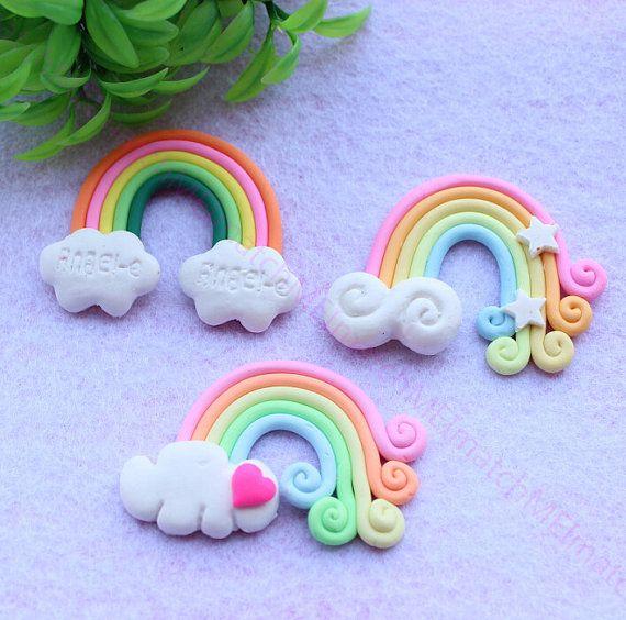 10pcs Rainbow bridge Rainbow Cloud Cabochon w/ Cloud Flat Back Kawaii Fimo Cabochon Polymer Clay Cell Phone Decoden Colorful Scrapbooking