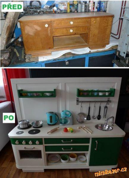 Kuchyňka pro děti ze starého nábytku pro inspiraci