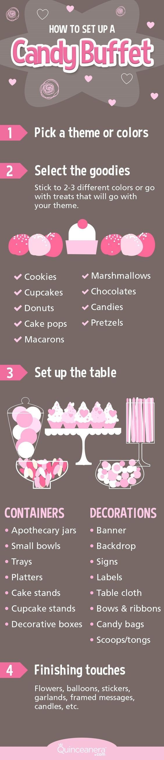 If you are having a candy buffet for your quince but have no clue how to set it up yourself, you've come to the right place!