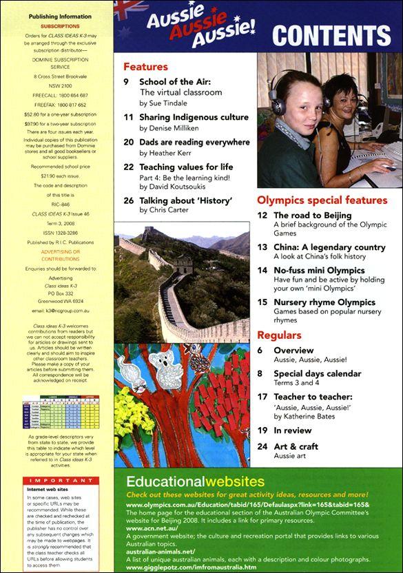 Aussie Aussie Aussie. Class Ideas magazine from K-3. Sharing indigenous culture, talking about history, China, Aussie art and craft.