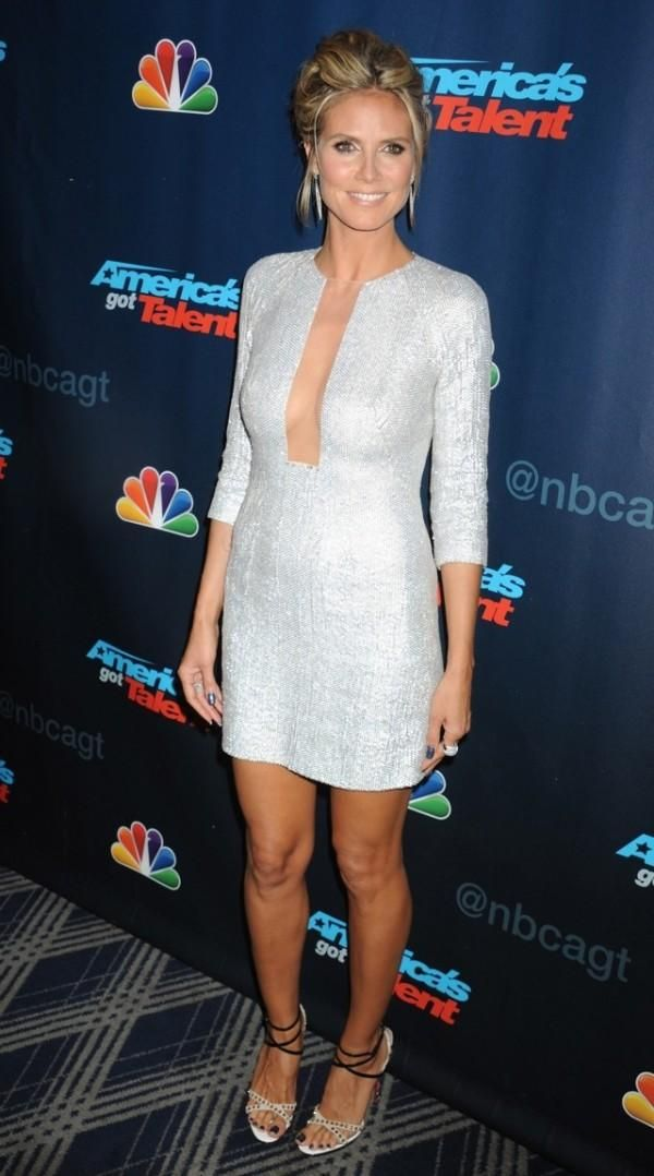 Heidi Klum Wearing Kaufmanfranco spring 2013 sequins long sleeves dress with sheer paneling on last night's episode of America's Got Talent. Christian Louboutin Monocronana Patent Leather and Suede Studded Sandal finish her look.