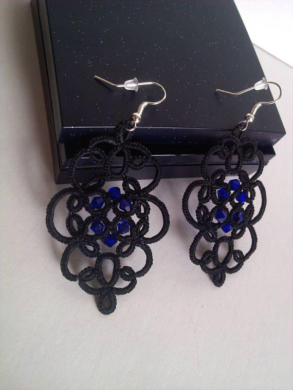 Jewelery Earrings Black Long  Purple Gift Vintage Fashion Blue Stone Style Girl Woman Party