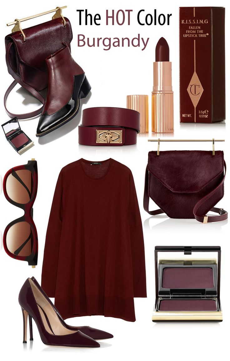 THE HOT COLOR: Burgandy / Burgundy for FW 2014-15: Burgundy was the most prolific hue on the FW14 runways and, as a more sensual alternative to purist shades, it's a wonder it hasn't been in the spotlight sooner. For the most flattering color combination, pair with camel or blue, or simply wear head to toe, runway-style.: