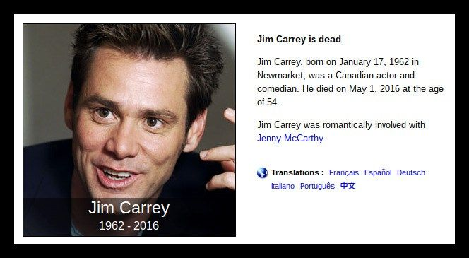 Jim Carrey Death Hoax (2016) #jim #carrey #dead, #jim #carrey #died, #jim #carey http://michigan.nef2.com/jim-carrey-death-hoax-2016-jim-carrey-dead-jim-carrey-died-jim-carey/  Bury Carrey? RATING ORIGIN In April 2016, an unsubstantiated rumor began circulating online that actor/comedian Jim Carrey had passed away. It s unclear where this rumor originated: Most of the messages regarding the death hoax on Facebook focused on the above-displayed image or an R.I.P Jim Carrey Facebook page that…