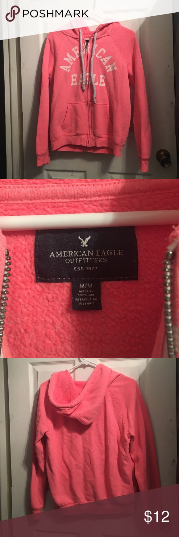 American Eagle full zip hoodie Good condtion. Size medium. Strings are a little dingy and have a small amount of pilling. May come cleans with some white revive :) American Eagle Outfitters Tops Sweatshirts & Hoodies