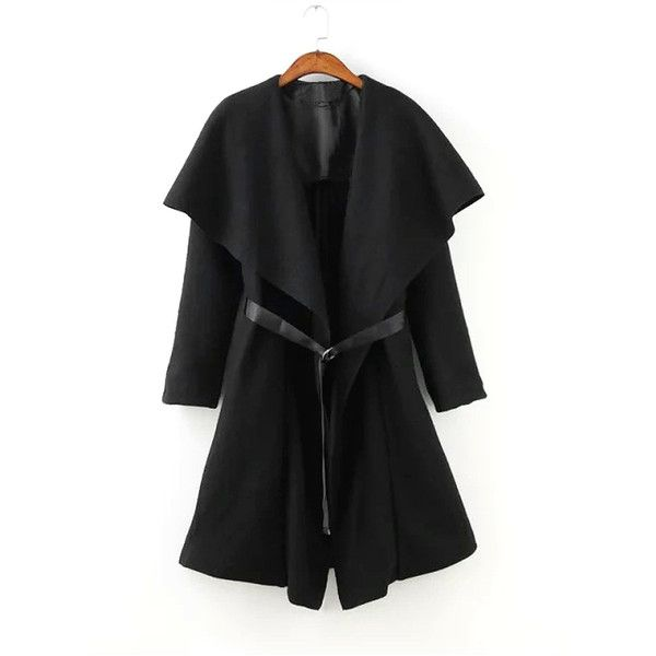 Yoins Draped Coat with Ribbons (1,315 MXN) ❤ liked on Polyvore featuring outerwear, coats, black, drape coat and waterfall coat