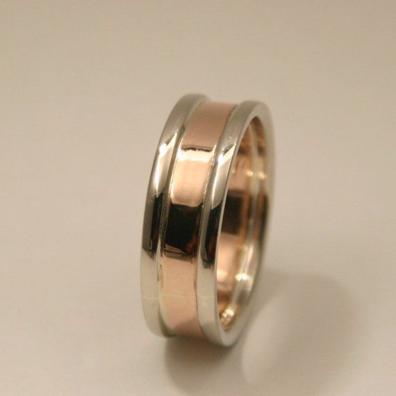 Contemporary 7mm 14k two toned gold wedding band for Maine wedding bands