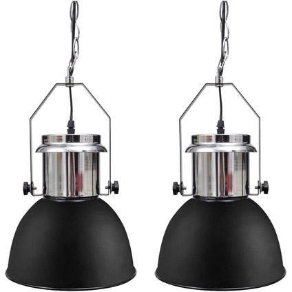 Moderne metalen hanglamp zwart (set van 2) | Praxis