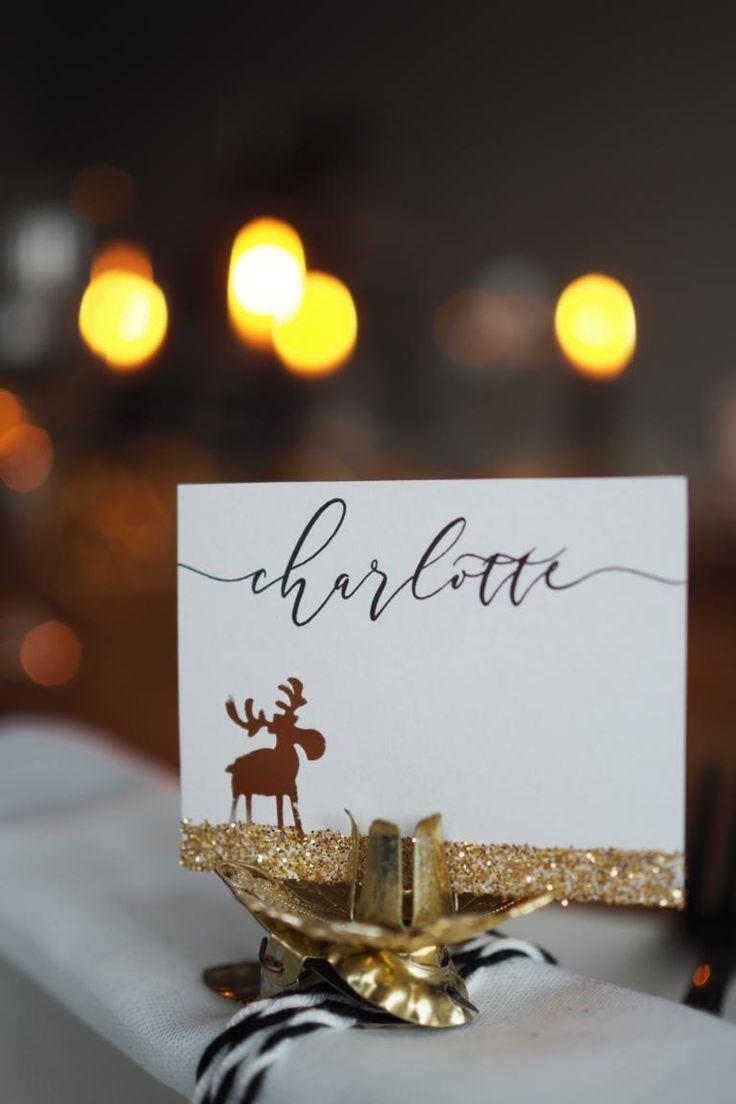 Tischkarte auf  Baumkerzenhalter in Gold mit Elch