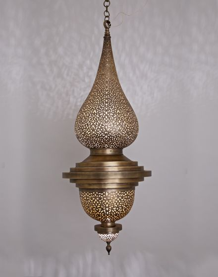 Large Flame Pendant Light in Antique Brass