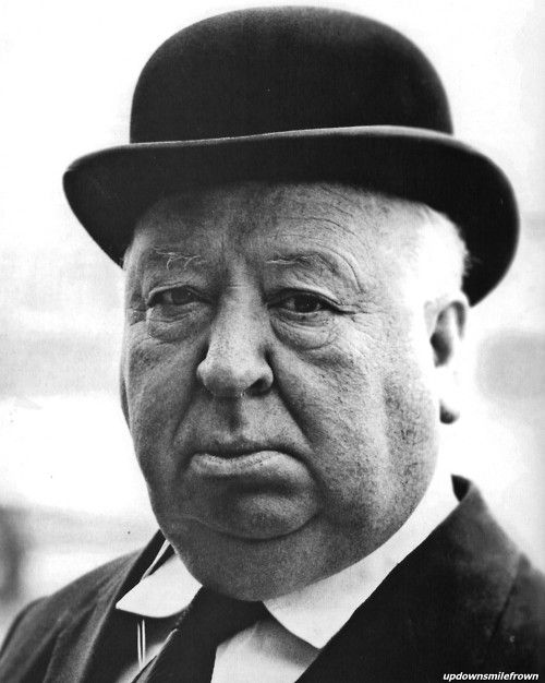 Alfred Hitchcock on the set of Frenzy, 1972.