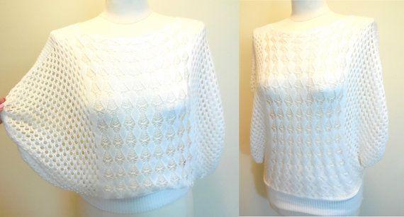 Pull Vintage blanc Bat manchon Crochet vêtements Dame Knit Blouse Tops rétro vêtements printemps été Fashions