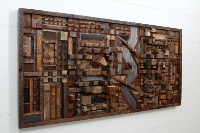 Ideia para paineis difusores. Wandkunst stück wiederverwertetes-Holz stellt Stadtlandschaft dar