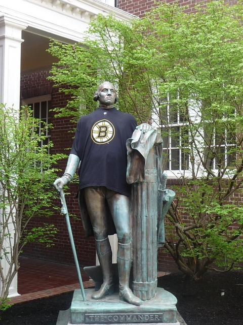 On the eve of Game 7 with the Montreal Canadiens, Commander George Washington sides with the Boston Bruins at the Sheraton Commander Hotel outside of Harvard Square
