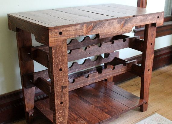 Looking for that perfect place to store your wine bottles, among other things?  This wine rack table has plenty of space and works beautifully in dining rooms as a buffet piece.  Available now in our Etsy shop!   Pallet Wine Rack, Pallet Wine Holder, Wine Table, Pallet Buffet Table, Pallet Bar
