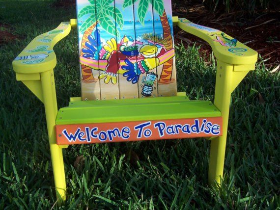 Tropical Adirondack Chair Handcrafted Hand by DreamCreationsArt