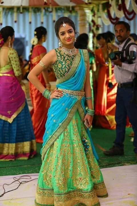 Half Saree in Shades of Green and Blue