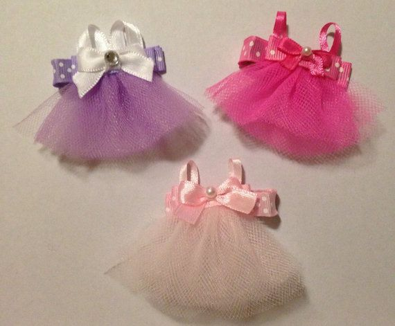 Tulle Dress Sculpture Ribbons Hair Clippies ballet by LaVieDeLily