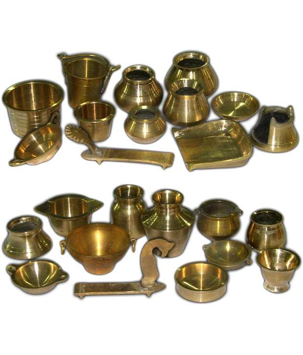 Ramsons solid brass miniature kitchen utensils set 1 2 for Kitchen set video in hindi