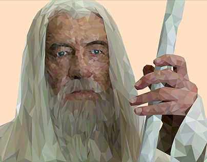 """Check out new work on my @Behance portfolio: """"Low Poly Gandalf- Geometric Art LOTR"""" http://be.net/gallery/52024241/Low-Poly-Gandalf-Geometric-Art-LOTR"""